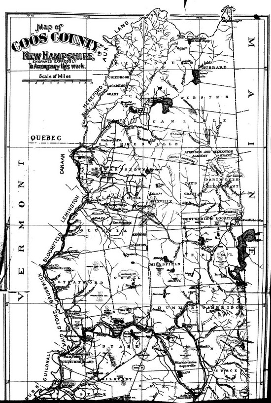 Carte ancienne de Coös, New Hampshire