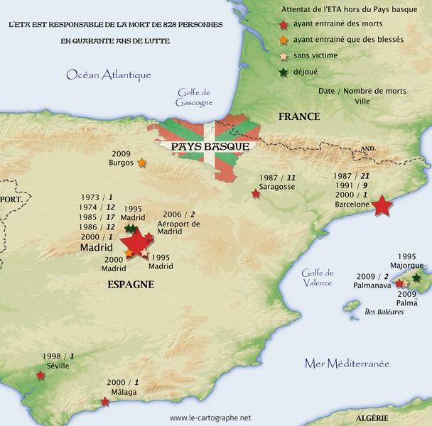Carte Pays Basque Francais.Pays Basque Les Attentats D Eta