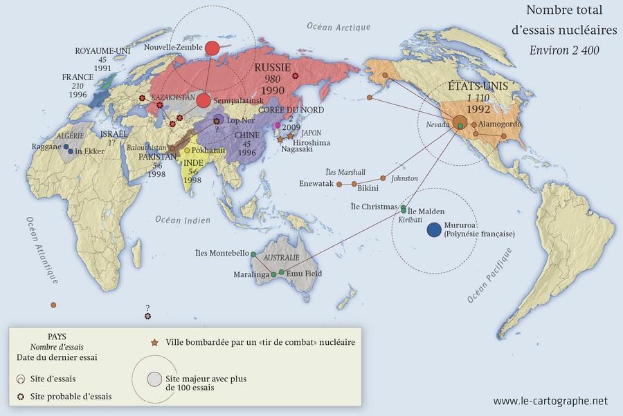 Les essais nucléaires dans le monde Carte : Les essais nucléaires dans le monde