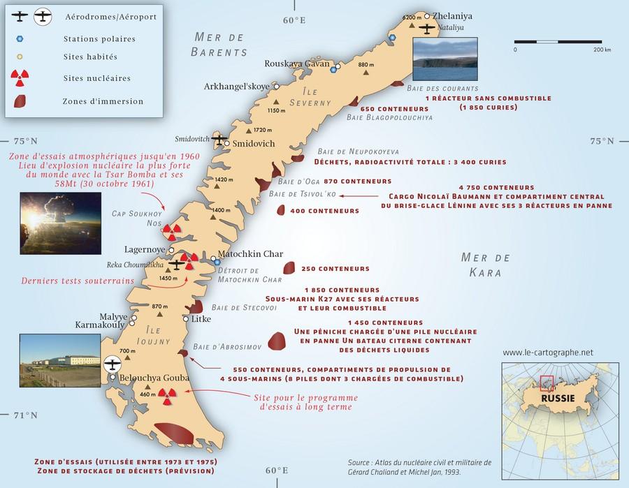 Les essais nucléaires dans le monde Carte : Le nucléaire et la Nouvelle-Zemble (Russie)