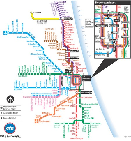Carte : Plan du métro de Chicago (Etats-Unis)