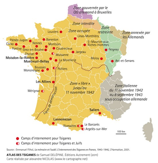 Carte : Les camps d'internement des Tsiganes en France