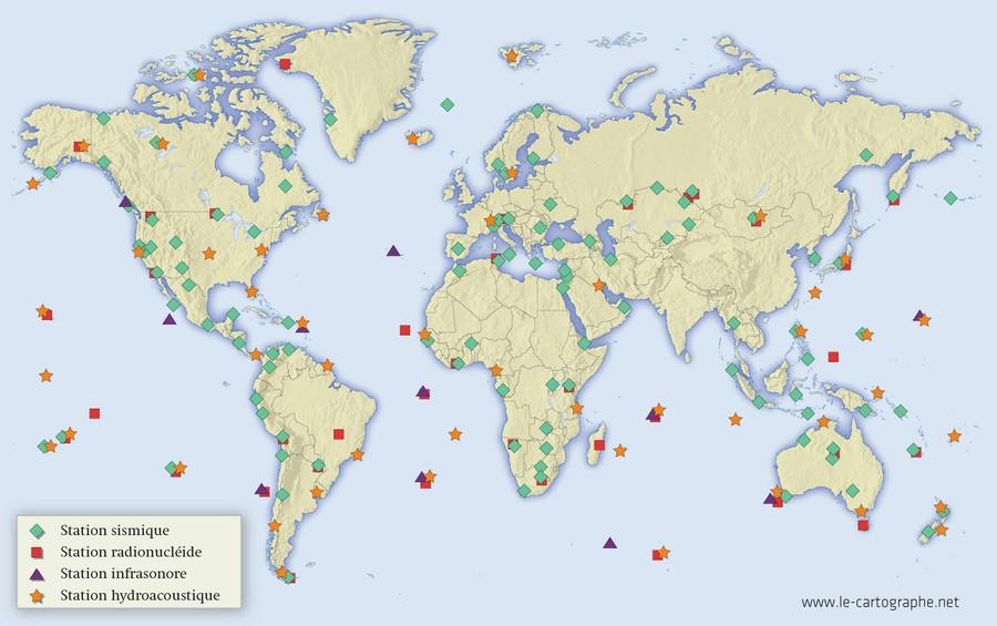 Les essais nucléaires dans le monde Carte - Le Système de surveillance international (SSI)